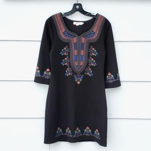 Aryeh Black Patterned 3/4 Sleeve Shift Dress - M